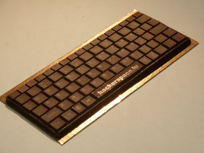 Finished chocolate keyboard. Note how you can even see the individual letters.